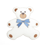 Large Motif: Baby: Towelling Teddy: White with Blue