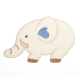 Large Motif: Baby: Velour Elephant: Cream with Blue