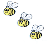 Craft Factory Iron or Sew On Fabric Motif Applique - Three Bees