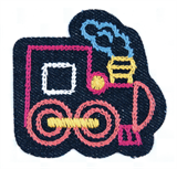 Craft Factory Iron or Sew On Fabric Motif Applique - Train