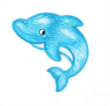 Craft Factory Iron or Sew On Fabric Motif Applique - Dolphin