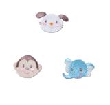 Craft Factory Iron or Sew On Fabric Motif Applique -Dog, Monkey, Elephant