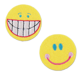 Craft Factory Iron or Sew On Fabric Motif Applique -Smiley Faces