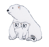 Craft Factory Iron or Sew On Fabric Motif Applique - Polar Bear and Cubs