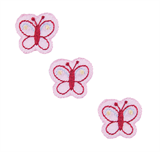 Craft Factory Iron or Sew On Fabric Motif Applique -Three Pink Butterflies
