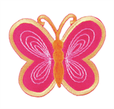 Craft Factory Iron or Sew On Fabric Motif Applique - Pink/Yellow Butterfly