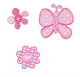 Craft Factory Iron or Sew On Fabric Motif Applique - Pink Butterfly and Flowers