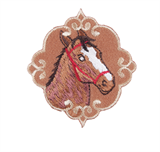 Craft Factory Iron or Sew On Fabric Motif Applique - Horse Emblem
