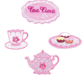 Craft Factory Iron or Sew On Fabric Motif Applique - Teatime