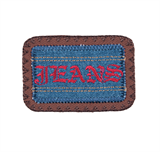 Craft Factory Iron or Sew On Fabric Motif Applique - Jeans Plaque Blue