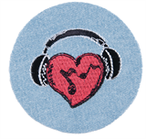 Craft Factory Iron or Sew On Fabric Motif Applique - Headphones Heart Badge
