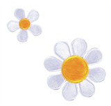 Craft Factory Iron or Sew On Fabric Motif Applique - White Daisies