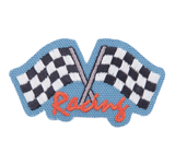 Craft Factory Iron or Sew On Fabric Motif Applique - Racing Flags