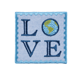 Craft Factory Iron or Sew On Fabric Motif Applique - LOVE Earth