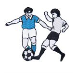 Craft Factory Iron or Sew On Fabric Motif Applique - Football Players - Blue vs White