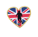 Craft Factory Iron or Sew On Fabric Motif Applique - Union Jack Heart & Football Player