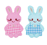 Craft Factory Iron or Sew On Fabric Motif Applique - Pink and Blue Checked Bunnies