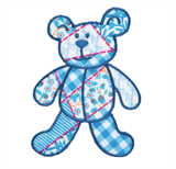 Craft Factory Iron or Sew On Fabric Motif Applique - Blue Patchwork Bear