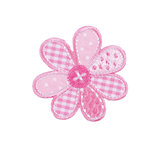 Craft Factory Iron or Sew On Fabric Motif Applique - Pink Patchwork Flower