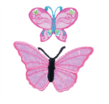 Craft Factory Iron or Sew On Fabric Motif Applique - Pink Butterflies
