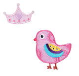Craft Factory Iron or Sew On Fabric Motif Applique - Pink Birdy with Crown