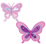 Craft Factory Iron or Sew On Fabric Motif Applique - Big and Small Pink Butterfly