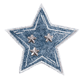 Craft Factory Iron or Sew On Fabric Motif Applique - Studded Denim Star