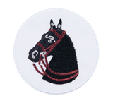 Craft Factory Iron or Sew On Fabric Motif Applique - Black Horse Badge