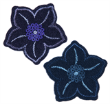 Craft Factory Iron or Sew On Fabric Motif Applique - Navy Sequined Flowers