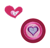 Craft Factory Iron or Sew On Fabric Motif Applique - Circle and Hearts