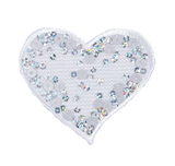 Craft Factory Iron or Sew On Fabric Motif Applique - Sequin White Heart