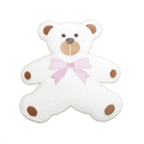Large Motif: Baby: Towelling Teddy: White with Pink