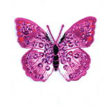 Craft Factory Iron or Sew On Fabric Motif Applique - Pink Sequin Butterfly