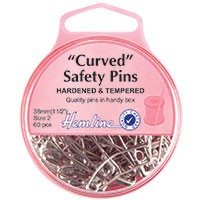 Curved Safety Pins: Nickel - 38mm - 60pcs