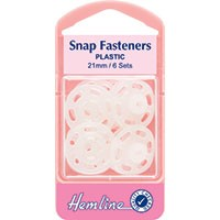 Sew On Snap Fasteners: Clear (Plastic) - 21mm
