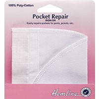 Iron-On Pocket Repair: White - 18 x 18cm