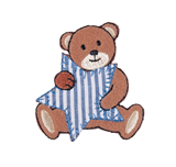 Craft Factory Iron or Sew On Fabric Motif Applique - Bear with Blue Stripe Star