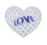 Craft Factory Iron or Sew On Fabric Motif Applique - Silver Sequin Love Heart
